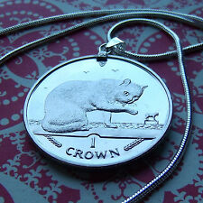 "Rare 1999 Isle of Man British Blue Cat Coin on a 30"" White Gold Filled Necklace."