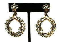 Vtg TRIFARI Femme Fatale Rhinestone Goldplated Dangling HOOP Earrings