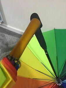 Large & Bright Multi-coloured Rainbow Golf Umbrella 8 Panel AUTO Wedding STRONG