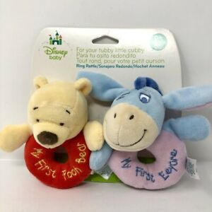 Disney Baby My First Winnie the Pooh Plush Bear and Eeyore Rattle Lovey