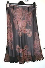 EAST UK12 EU40 BLACK/PINK CHIFFON SKIRT WITH SILK OUTER