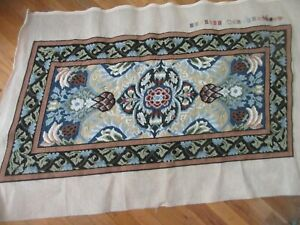 POMEGRANATE Beth Russell William Morris Needlepoint Rug Completed Not Blocked