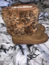 FabKids Girls Faux Fur Boots Brown Size 1