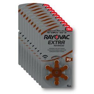 60x Hörgerätebatterie Typ 312 / Braun Rayovac extra advanced - MHD_2025 #R312