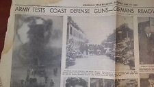 1941 WWW II Hawaii newspaper US ARMY TEST COAST DEFENSE GERMANS REMOVED