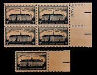 US Stamps, Scott #1083 Nassau Hall 3c Plate Block & single. XF M/NH Fresh.