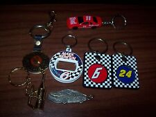 7 Nascar Racing Keychains #24, #6, #11, #23, #3 Oil Can Car Winston Motor Sports