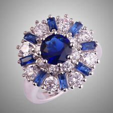 New Cluster Flower Jewelry Sapphire White Topaz Gemstone Silver Ring Size 12