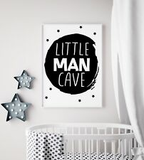 Little Man Cave Circle Black Nursery Print Kids Room Boys Wall Art Picture Gift