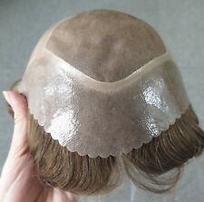 Human Hair Replacement System Poly Coated&Monofilament Toupee Men Hairpieces #17