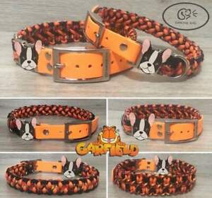 Personalised paracord / biothane dog collar and lead engraved tag