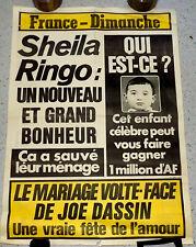 AFFICHE FRANCE DIMANCHE. SHEILA RINGO Un nouveau grand bonheur, Mariage J DASSIN