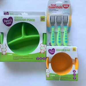 Toddler Transition Feeding Set Silicone Section Plate & Bowl and NUK Forks