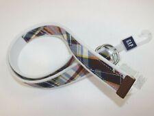 NWT GAP Size Small Men's White Patchwork Plaid Cotton Web Leather Trim Belt