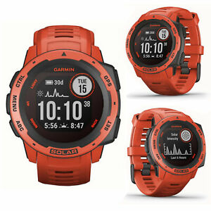 Garmin Instinct Solar Flame Red Smart GPS Sports Running Swimming Cycling Watch