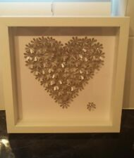 HANDMADE HANCRAFTED SILVER HEART IN A BOX FRAME
