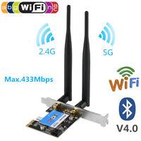 2.4/5G 433M WiFi Wireless Bluetooth PCI-E Network Card 802.11AC For Desktop PC O