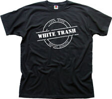 White Trash funny offensive printed cotton black t-shirt 9943