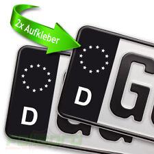 Nummernschild Kennzeichen Aufkleber 2 Stück SET für EU Feld schwarz D Sticker