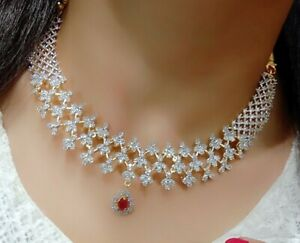 India Bridal American Diamond Necklace Earning Gold Tone Red Stone Designer Set