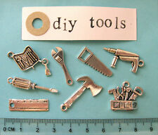 8 tibetan silver D.I.Y tool charms ruler spanner saw toolbox drill screwdriver
