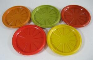 Retro 60s-70s Tupperware harlequin plastic coasters set x 5