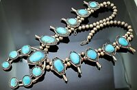 """GENUINE MORENCI TURQUOISE SQUASH BLOSSOM STERLING SILVER 25"""" NAJA NECKLACE"""