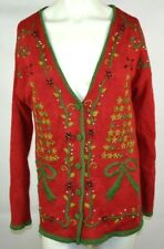 Kathie Lee Ugly Christmas Sweater Cardigan Womens Size Medium Red Bows