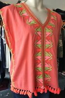 MAISON SCOTCH 131314 FRINGED EMBROIDERED GYPSY TOP CORAL 1,2,3,4 10-16