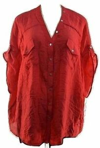 Alfani Red Short Sleeve Buttoned Back & Front Over size Top Size Xl Orig 59$