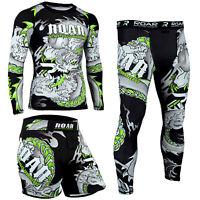 ROAR MMA Rash Guard & BJJ Grappling Shorts Jiu Jitsu Spats Tights NoGi Sets