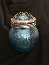 "Farmhouse GLASS VASE with GRID frog top~4"" tall  ~ BLUE"