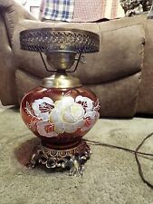 "Vintage ""B.Hart"" Cranberry Glass  Hand Painted Parlor Lamp Base ~GORGEOUS!"