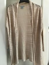 Ladies Beige Pointelle Open Front Waterfall Cardigan By H&M Size  M / UK 12-14