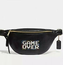 COACH PACMAN GAME OVER BLACK PEBBLE LEATHER BELT BAG BNWT Limited Edition 72909