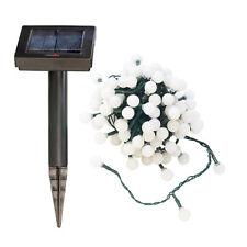 Solar-Warmlichterkette: Solar-LED-Lichterkette mit 102 weißen LEDs, 10 m, IP44