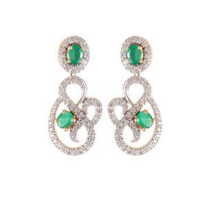 2.05 Carats Round Brilliant Cut Diamonds Emerald Dangle Earrings In 750 18K Gold
