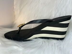 JUICY COUTURE Flip Flop Wedge Apple Sandals Black and White Striped Size 6