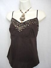 MARKS & SPENCER BROWN STRAPPY TOP SIZE 14 (EUR 42) - NEW