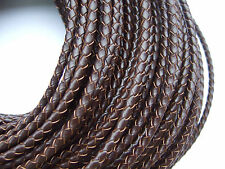 1/5 Yards 4mm Round Genuine Bolo Braided Leather Cord DIY Craft Jewelry Supplies