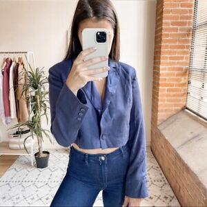 Fleur Du Mal Cropped Silk Blazer Jacket Spring Indigo Women's Size 2