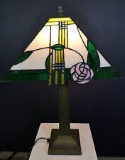 "Tiffany Table Lamp 12"" Square Mackintosh Rose"