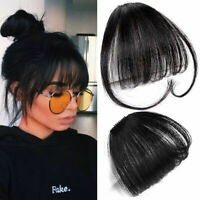 8A Clip on Human Hair Extensions Thin Neat Air Bangs Fringe Remy Human Hairpiece