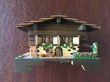 Vtg. Wooden Swiss Chalet Music Box with Working House Wheel and Plays Music