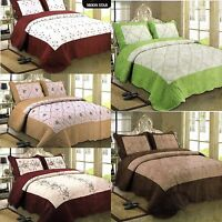 3PCS Quilted Bedspread, Reversible Bedspread & 2 Matching Pillow Shams Cotton