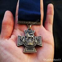Victoria Cross Royal Navy WW1 British Medal with Blue Ribbon 1918 Naval Repro