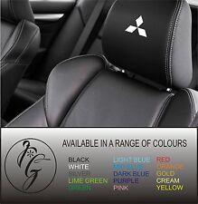 5 Mitsubishi car seat head rest decal sticker vinyl graphic logo badge free post