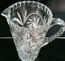 Vtg Molded Glass Pitcher * Pinwheel * Thumbprint * Heavy * 32oz