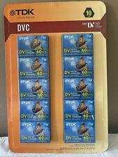 New listing Lot Of 10 Tdk Dvc 60 min. Mini Dv Digital Cassette Video Tapes Unopened Package!