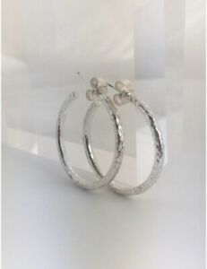 Solid Sterling Silver 925 Sparkly Hammered Hoop Earrings Sizes 25-35mm Handmade
